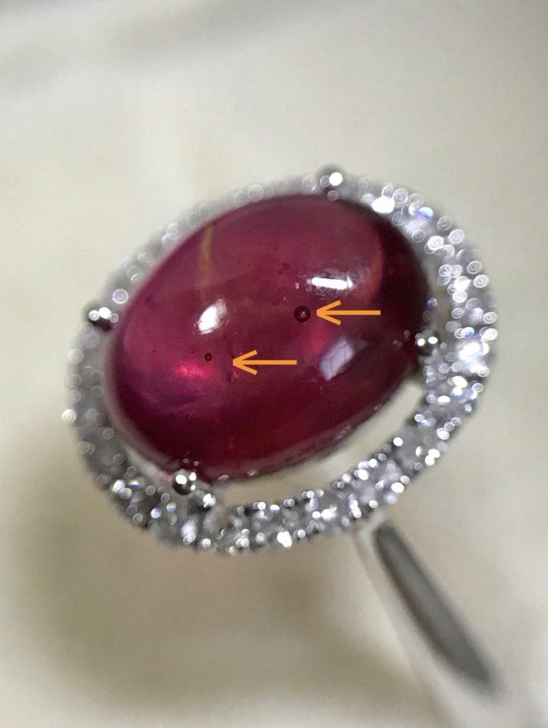 気泡の含まれた鉛ガラス含浸処理ルビー