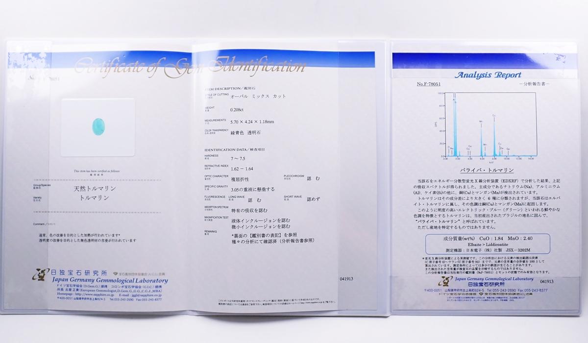 パライバトルマリン 鑑別書&分析報告書