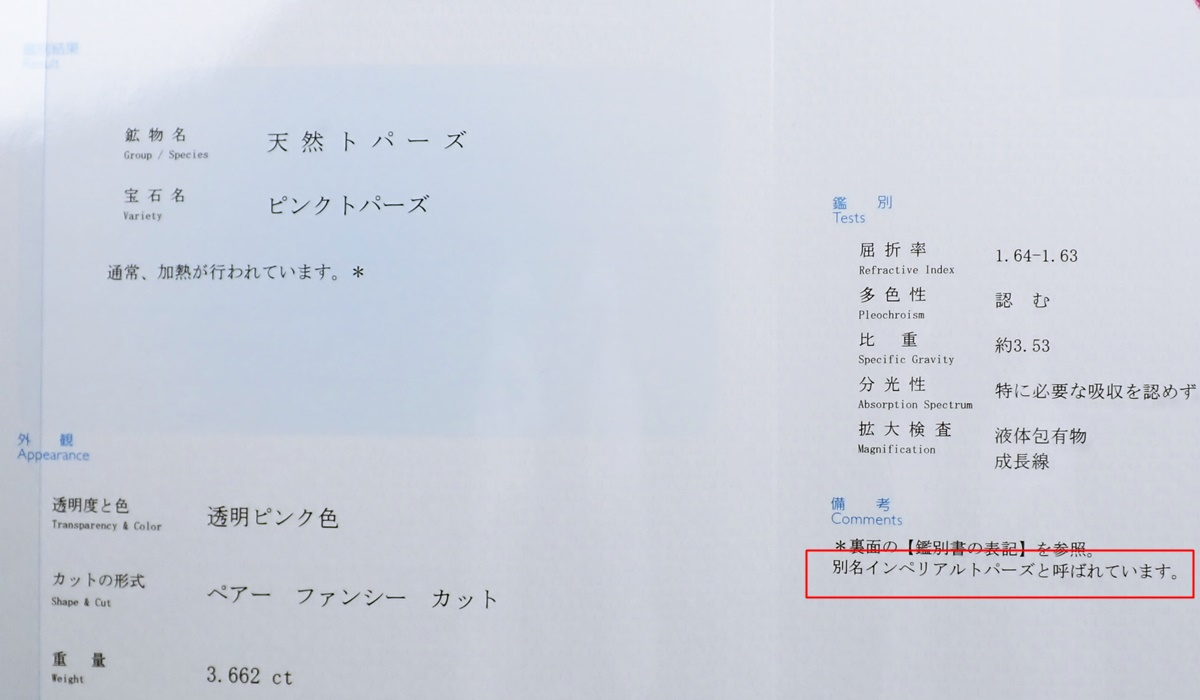 インペリアルトパーズ 鑑別書